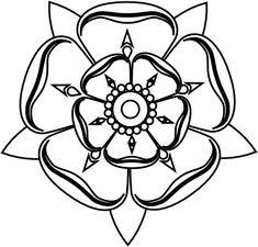 Yorkshire Rose Black White Line Art Tattoo Tatoo Flower 555px.png