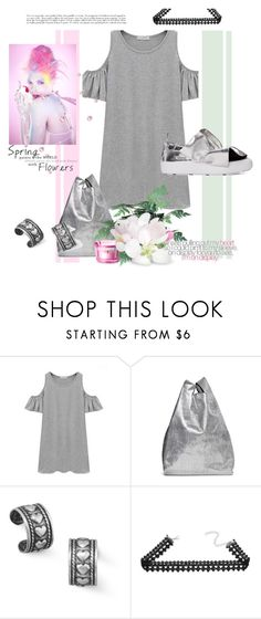 """SILVER SNEAKS WITH DRESS"" by michelle858 ❤ liked on Polyvore featuring Chicnova Fashion, Maison Margiela, BillyTheTree and MSGM"