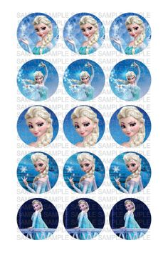 """FROZEN ELSA Digital 4x6 jpg File for (15) 1"""" circle Images for Bottle Caps - Cupcake Toppers -  Scrapbooking - Party Decoration"""