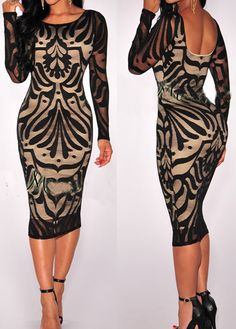 Print Design Cutout Back Long Sleeve Sheath Dress-only $34.00 at www.lilypadclothing.com. New Arrival for Fall 2015!!! Beautiful lace sheath dress with sheer long sleeves and cutout back!
