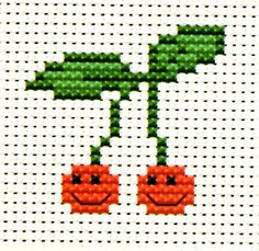 Simple Counted Cross Stitch KIT FOR Beginners Smiling Cherries   eBay Coloured chart. Each colour on the chart corresponds to the actual colour of the project. Easy to read. HIGH QUALITY EMBROIDERY FLOSS (4 DIFFERENT COLOURS) 14 COUNT AIDA WHITE CLOTH NEEDLE SIZE OF THE FINISHED WORK -3.7cm x 3.5cm ( 1.48'' x 1.4'') http://www.ebay.com.au/itm/CUTE-SIMPLE-COUNTED-CROSS-STITCH-KIT-BEGINNERS-SMILING-CHERRIES-/290834507634?pt=UK_Crafts_CrossStitch_RL=item43b7166772