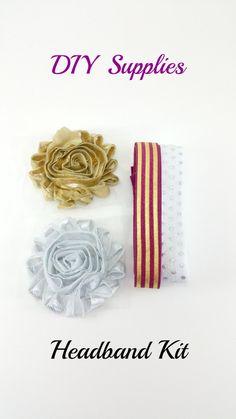 Metallic shabby flower DIY headband kit 3, Baby girl headband kit, Christmas flower headband kit, Baby shower headband making kit - pinned by pin4etsy.com