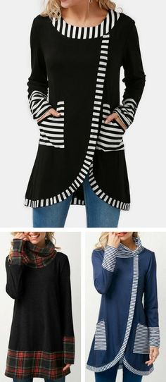 Tunic top, long sleeve top, stripe top, long sleeve top, cotton top, top for women, tops, womens tops, rosewe top, free shipping worldwide at Rosewe.com.
