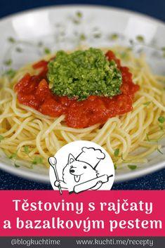 Těstoviny s rajčatovou omáčkou a bazalkovým pestem. Máte chuť na něco jednoduchého, lehkého a bez masa? Tyhle těstoviny s rajčatovou omáčkou a bazalkovým pestem s oříšky a parmezánem vás naprosto uspokojí. | @blogkuchtime  | #recepty #jidlo #inspirace #vareni #foodblog #kucharka Pesto, Spaghetti, Foods, Ethnic Recipes, Lasagna, Food Food, Food Items, Noodle