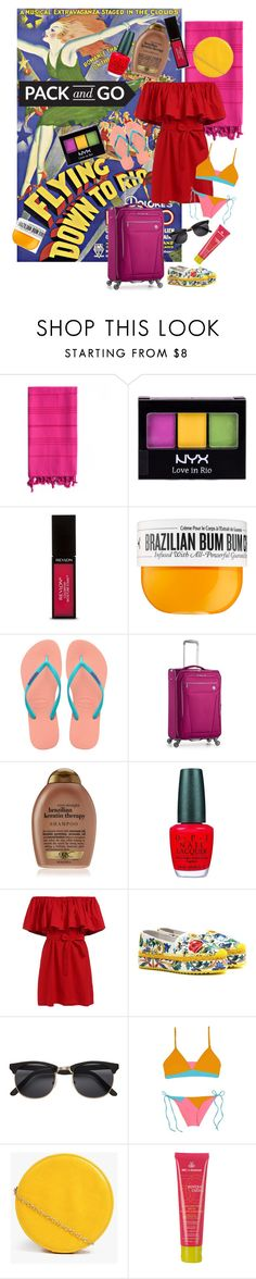 """Flying Down to Rio"" by rachael-aislynn ❤ liked on Polyvore featuring Linum Home Textiles, NYX, Revlon, Sol de Janeiro, Havaianas, Revo, OPI, Dolce&Gabbana, Basta and Boohoo"