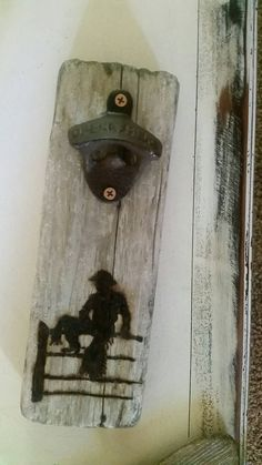 """Items similar to Wall Bottle Opener """" Cowboy on fence """" drift / barnwood on Etsy Beer Cap Art, Beer Caps, Bottle Cap Opener, Beer Bottle Opener, Barn Wood Projects, Small Wood Projects, Weekend Crafts, Wood Burning Crafts, Wood Creations"""