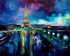 Colores Saturados Parisian Night - 16x20 Eiffel Tower signed Lustre print reproduction by Aja ebsq on Etsy, $50.00