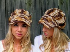 Oversized Newsboy Hat Crochet Cap Womens Hat Handmade Chunky hat textured Knit Brim Cap Wheat Cream OR Choose Your Color