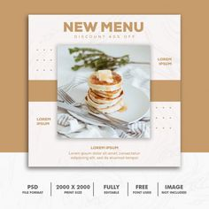 Square banner food restaurant cake menu | Premium Psd #Freepik #psd #banner #food #menu #design Banner Design, Flyer Design, Layout Design, Restaurant Menu Design, Restaurant Identity, Insta Layout, Free Banner Templates, Graphic Design Posters, Food Graphic Design