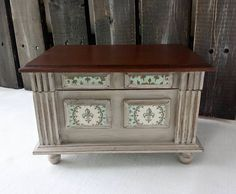 Beige fleur de lis jewelry box. Vintage chic Eco friendly Ready to ship - pinned by pin4etsy.com