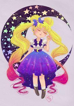 Sailor Moon Usagi Art Print 9x12 11x17 by aluminumbunny on Etsy