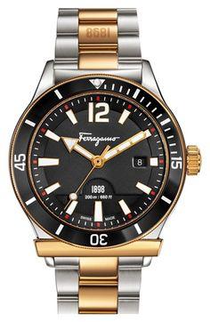Men's Salvatore Ferragamo '1898 Sport' Bracelet Watch, 43mm