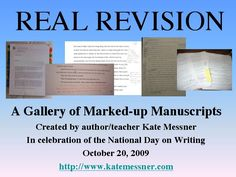 Celebrating the National Day on Writing: A Revision Gallery - photographs of authors' manuscripts with copy editor notes/requests for revisions. Work On Writing, Middle School Writing, Writing Process, Writing Advice, Writing Resources, Teaching Writing, Creative Writing, Teaching Ideas, Readers Workshop