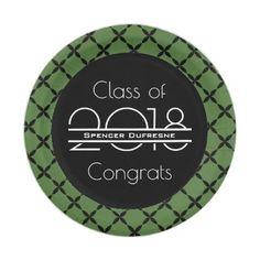 Elegant Cool u0026 Green Graduation Paper Plate - graduation gifts giftideas idea party celebration  sc 1 st  Pinterest & Elegant Pink u0026 Cool Graduation Paper Plate - graduation gifts ...