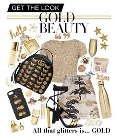 """""""All that glitters"""" by daniellataylor ❤ liked on Polyvore featuring Alice + Olivia, Louis Vuitton, Giuseppe Zanotti, Gucci, Illamasqua, Stila, S'well, Nude, Michael Kors and Marc Jacobs"""
