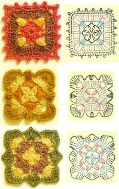 funwithfibers: A huge and lovely assortment of granny square patterns. Great resource for different gift ideas Motifs Granny Square, Crochet Square Patterns, Crochet Motifs, Crochet Blocks, Crochet Diagram, Crochet Stitches Patterns, Crochet Chart, Crochet Squares, Knitting Patterns