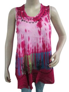 Hippy Tank Top Pink Tie Dye Embroidered Casual Wear Boho Tops Medium Mogul Interior,http://www.amazon.com/dp/B00EWFETMY/ref=cm_sw_r_pi_dp_oq.isb0BHMKJ9XTJ