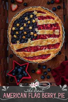 American Flag Berry Pie   www.oliviascuisine.com   Nothing says summer like a delicious berry pie! And if you're making dessert for 4th of July (or Memorial Day), why not do an American Flag lattice pie to celebrate? I can't think of anything more patriotic! This easy American Berry Pie recipe is delicious and instagrammable! #berrypie #americanflag Pie Crust Recipes, Tart Recipes, Star Cookie Cutter, Berry Pie, Star Cookies, Sweet Tarts, Pie Dessert, Pie Dish, American Flag