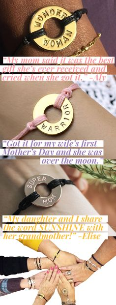 💐 Mother's Day is May Personalize an intention bracelet for every great mom in your life 💖 First Mothers Day, Mother And Father, Happy Mothers Day, Mother Gifts, Metal Stamped Bracelet, Stamped Jewelry, Mother's Day Bracelet, Bracelet Crafts, Overwatch