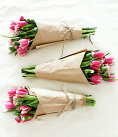 Bouquets for women's day! Flowers wrapped in paper.
