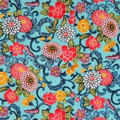 http://www.kawaiifabric.com/en/p11483-blue-colorful-flower-Dobby-fabric-by-Cosmo-from-Japan.html