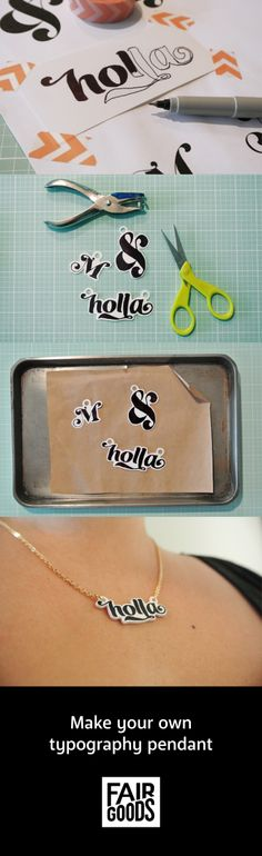 Make your own typography pendants!