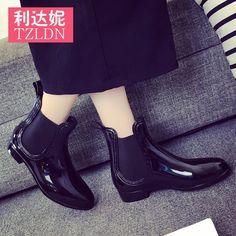 Япония и Южная Корея короткий эластичный женский Duantong Мартин сапоги галоши скольжения резиновые сапоги женские моды сплошной цвет обувь вода обувь сапоги женская -tmall.com Lynx