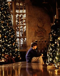 This is so nostalgic to me, how I see myself sitting amongst the trees in Hogwarts at Christmas time. I will never lose my childhood so long as Harry Potter still exists in the world.   I solemnly swear that I am up to no good!