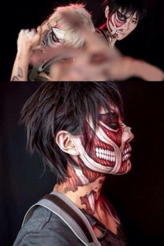 This is so awsome!... Berty and Reiner Totan facepaint AOT cosplay :3