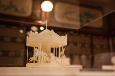 """Pop-up """"merry-go-round"""" by HIROKO in the exhibition place, """"Hyakudan Kaidan"""", which is a building that the Tokyo metropolitan government selected as one of tangible properties of Tokyo, 2015. 「merry-go-round」@「星光の間」 Photo Shojiro Nakabayashi"""