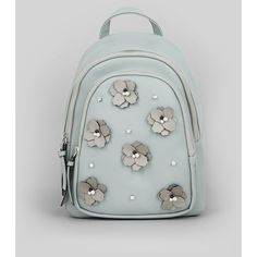 New Look Pale Grey Floral Embellished Mini Backpack (19.325 CLP) ❤ liked on Polyvore featuring bags, backpacks, pale grey, floral rucksack, new look backpack, mini floral backpack, miniature backpack and one strap backpack