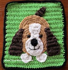 Crochet Dog Applique - Very cute and a large size to use as a centerpiece on blankets, car seat cover, etc. Pattern is NOT free, purchase for $2