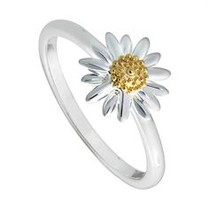 Daisy 10mm ring | DAISY London Clean Gold Jewelry, Black Gold Jewelry, Silver Jewellery, Daisy Jewellery, Antique Jewellery, Sterling Silver Flowers, Sterling Silver Jewelry, Hammered Silver, Daisy London