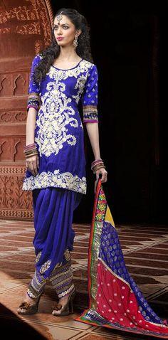 $113.5 Blue Silk Designer Embroidery Punjabi Salwar Suit 25846