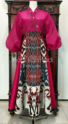 Batik Fashion, Ethnic Fashion, Hijab Fashion, Batik Dress, Lace Dress, Blouse Batik Modern, Dress Batik Kombinasi, Mode Batik, Dress Pesta