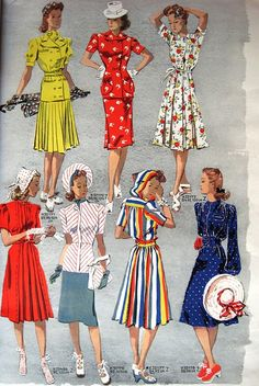 40s fashion via sew retro color illustration day dress red yellow white blue rainbow hood hat shoes purse green skirt shirt blouse jacket hair