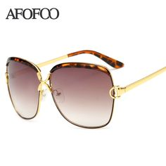 AFOFOO New Fashion Big Frame Sunglasses Brand Designer Vintage Women Sun glasses Retro Eyewear Goggle UV400 Oculos de sol