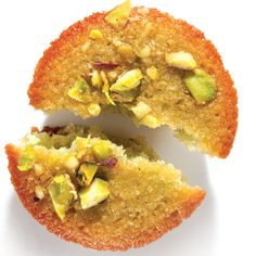 Pistachio Financier Recipe This two-bite pistachio financier is as rich as the name suggests, boasting almond flour and sweet brown butter, lightened with whipped egg whites. Pistacia Vera, French Dessert Recipes, French Recipes, Classic French Desserts, Desserts Français, Plated Desserts, Pistachio Recipes, Pistachio Muffins, Sweet Butter