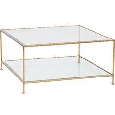 Quadro 2-Tier Square Coffee Table, Gold