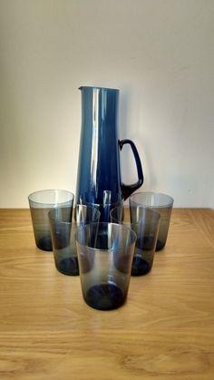 "RARE VINTAGE CAITHNESS GLASS WATER SET IN LOCH..DOMHNALL O`BROIN.1962   eBay Jug 10 1/4""tall..Glasses 3 3/8"" tall,2 7/8""diameter rim."