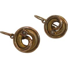 14K Gold Etruscan Revival Circle Snake Knot Earrings