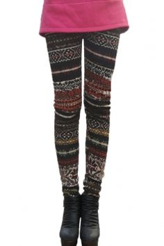 Brown Womens Tribal Classic Lined Sweater Leggings