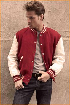 Vintage varsity jacket with leather sleeves. Photo - David Needleman for The New York Times