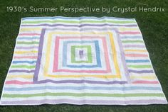 1930s Summer Perspective Quilt: Hello! It's Crystal Hendrix from Hendrixville! I'm bringing you another fun quilt, but with a twist on my usual tutorials...this one is using only solids! I must admit that I have never before made a quilt using only solids and after making one, I would like to encourage everyone to do it! It's different but very fun!