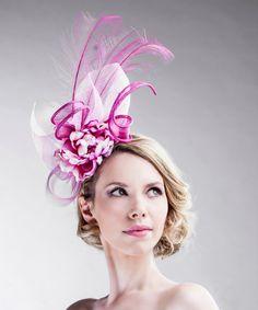 27b201f465f42 Floral Fuchsia Pink Statement Straw Facinator Feathers Headdress Hat Races  Crinoline Vintage Wedding Headband Birdcage Veil. Fascinator ...
