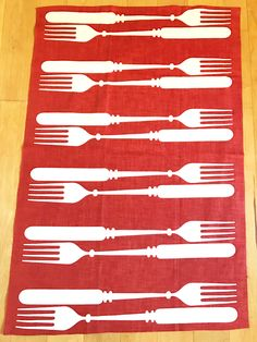 Vintage Dish Towel Forks OpTiCaL IlLuSiOn Martex Dry Me Dry Kitchen Wall Hanging by NeatoKeen on Etsy