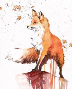Акварельный рисунок лисы