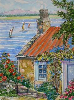 """Roses by the Sea Storybook Cottage Series"" - Original Fine Art for Sale - © Alida Akers"