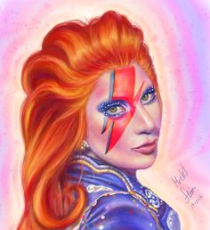 Lady Gaga tribute to Bowie - by Mickt Flior. Digital Art.