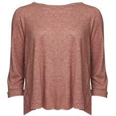 Levi's Made & Crafted Women's Long Sleeved Fluxus T-Shirt - Rosewood (62 CAD) ❤ liked on Polyvore featuring tops, t-shirts, shirts, blusas, sweaters, rosewood, tee-shirt, brown shirt, long sleeve shirts and scoop neck t shirt